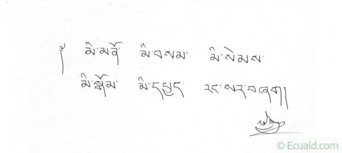 Instruction autographe de Bokar Rinpoché